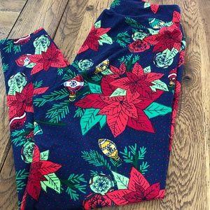 Lularoe Christmas Leggings Ornaments & Poinsettia